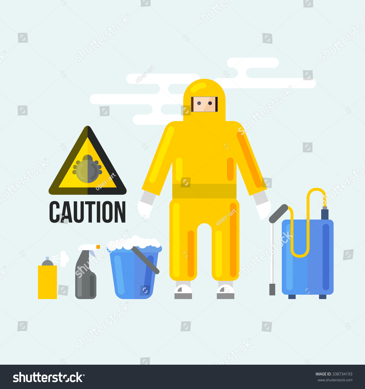 Chemical Cleaning Services : Chemical cleaning services caution attention signs stock