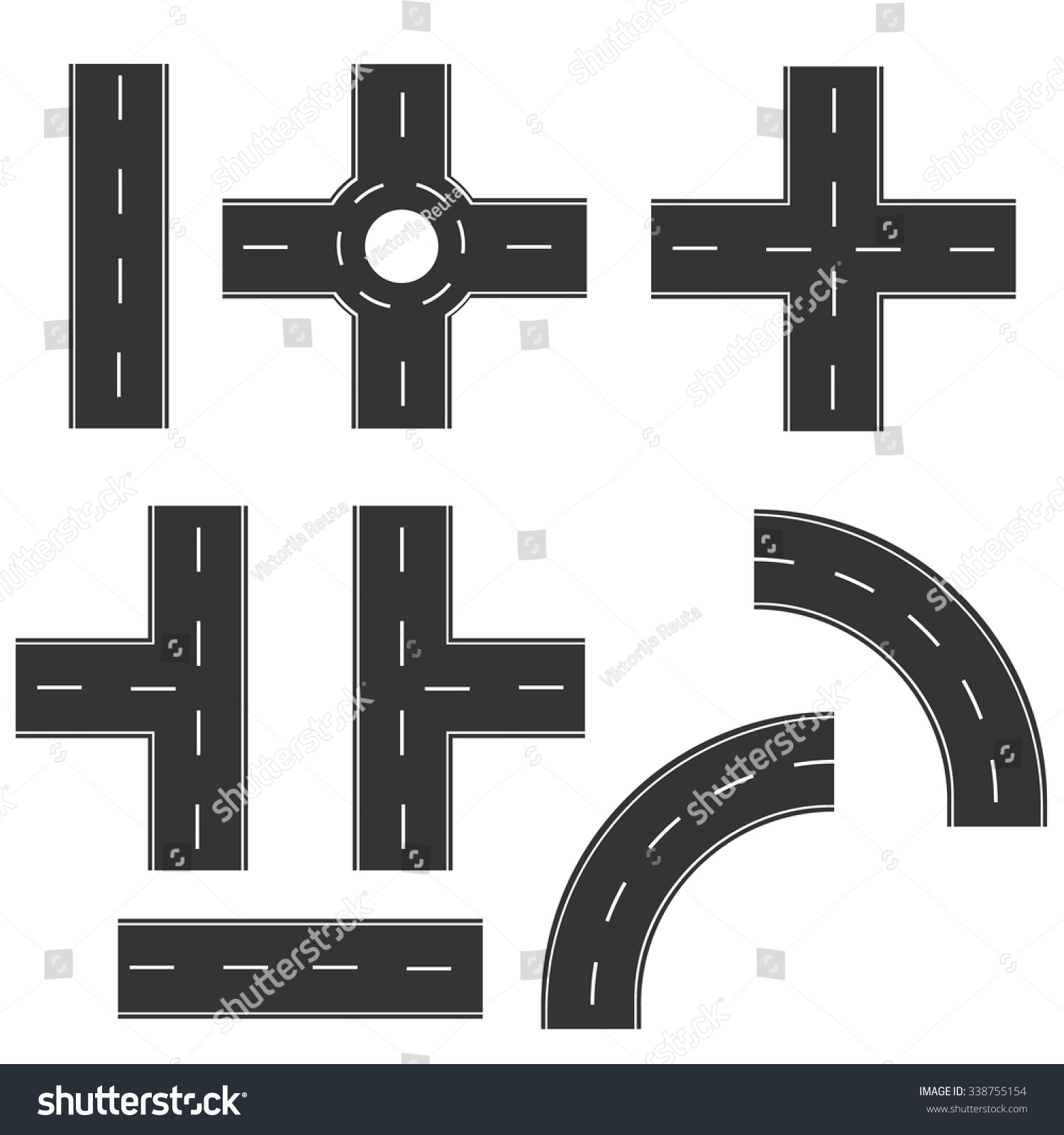 Road elements create your own road stock vector 338755154 road elements create your own road map vector illustration collection of connectable highway elements biocorpaavc Gallery