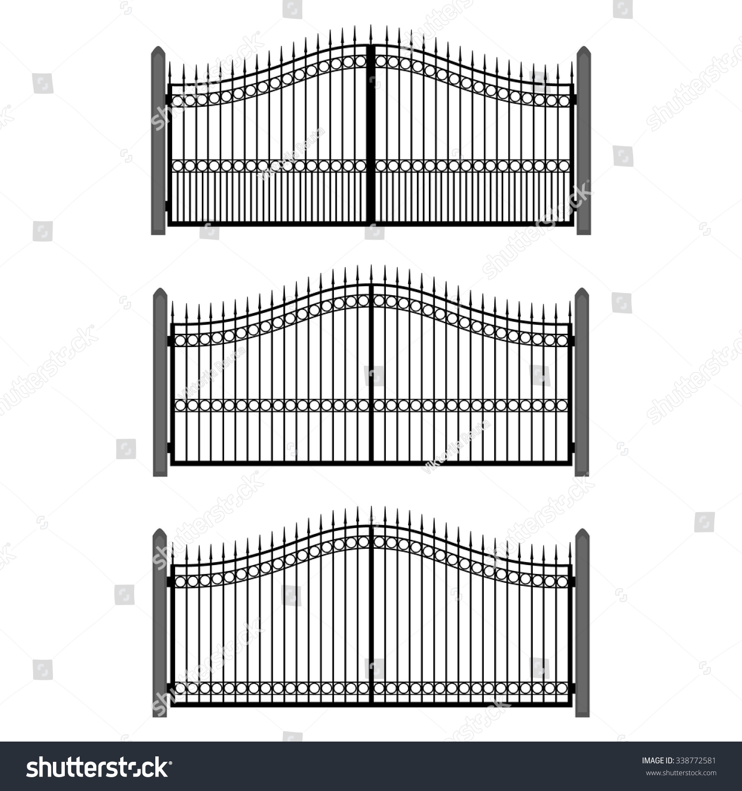vector illustration wroughtiron fence set old stock vector