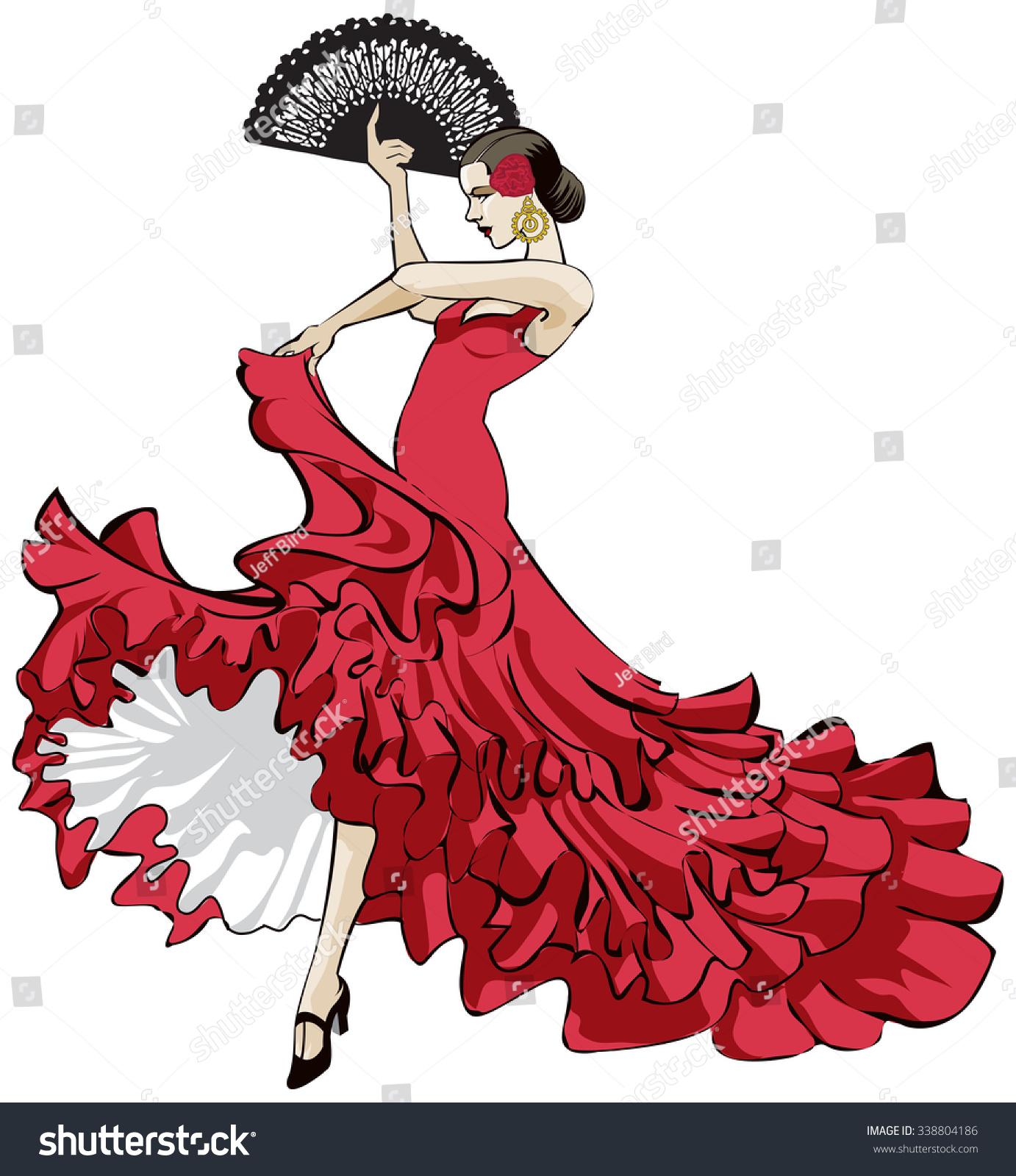 vector illustration beautiful spanish flamenco dancer stock vector