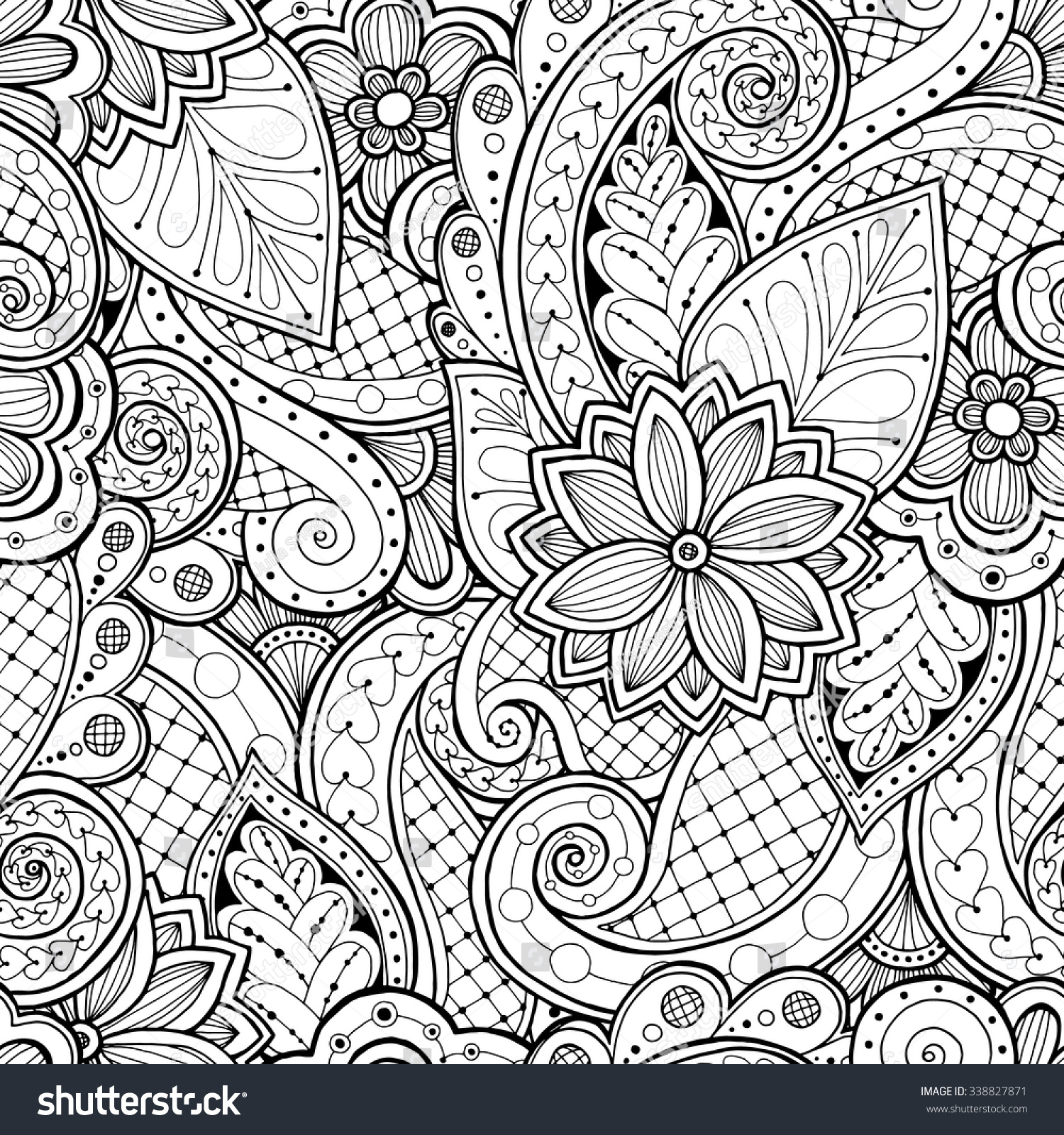 Doodle Seamless Background Vector Doodles Flowers Stock