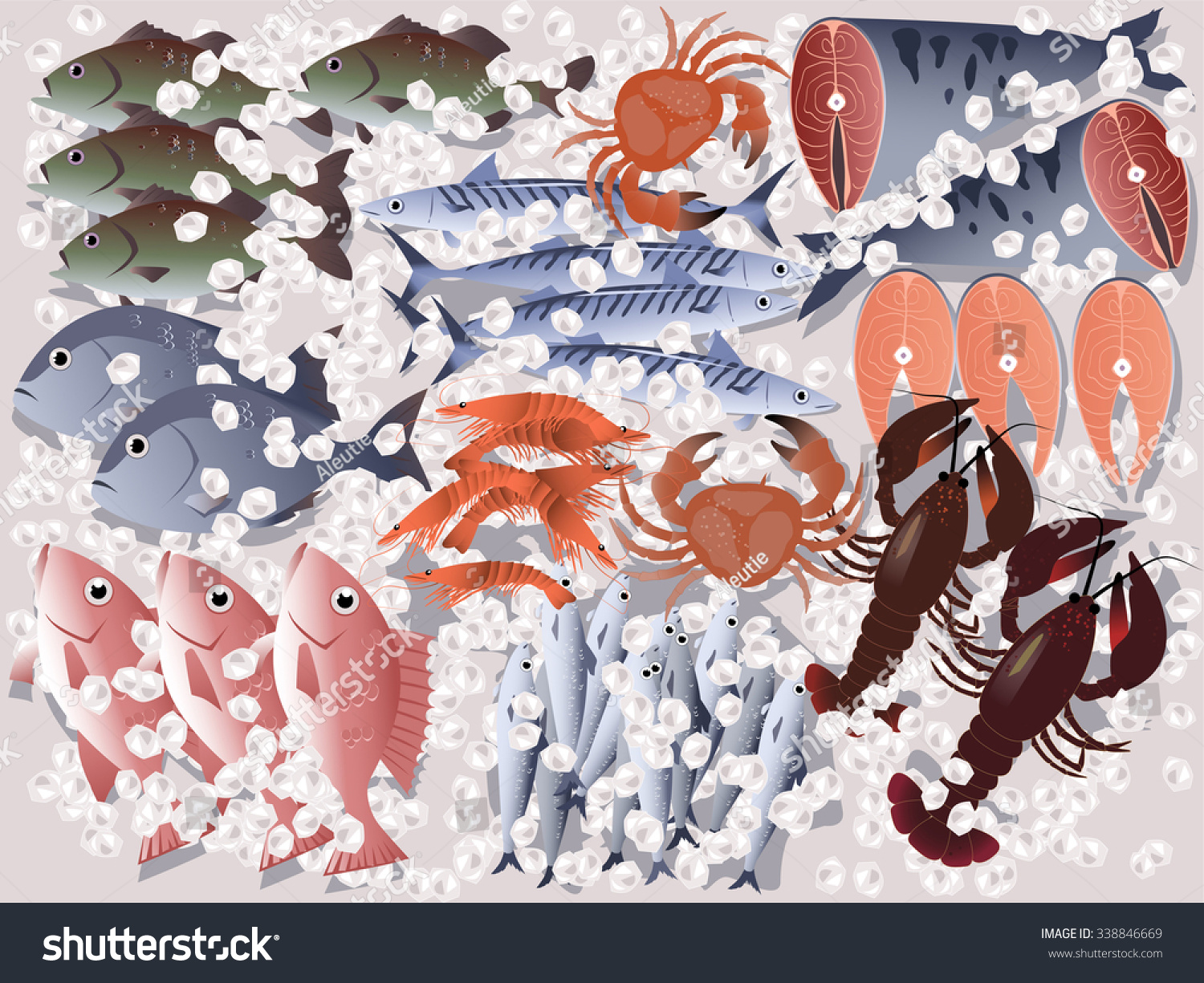 Fish store display assorted seafood on ice eps 8 vector for Fish stores in utah