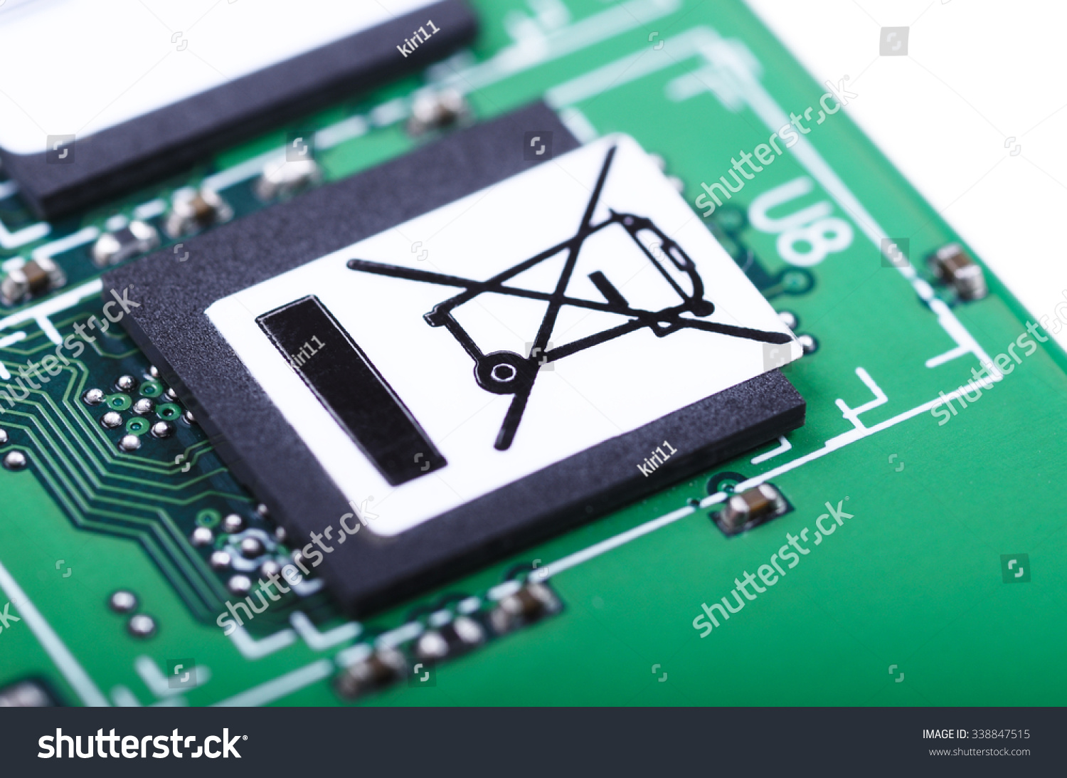 Royalty Free Part Of Printed Circuit Board With Do 338847515 Electronic Stock Photography Not Trash Symbol Closeup Shallow Dof Photo