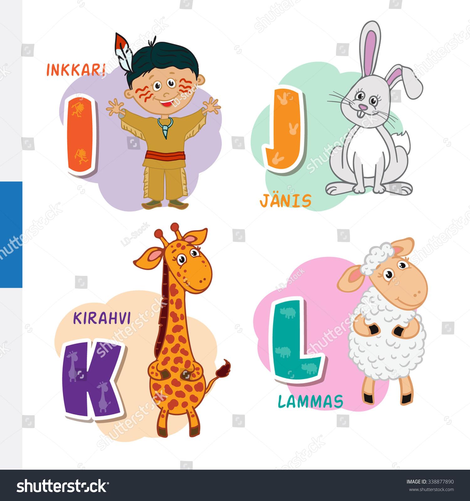 Finnish Alphabet Native American Rabbit Giraffe Stock Illustration