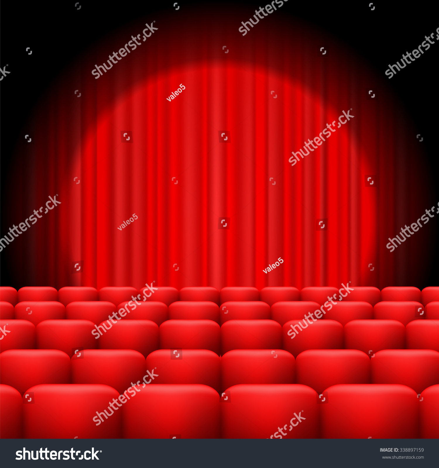 Red curtains with spotlight - Vector Red Curtains With Spotlight And Seats Classic Cinema With Red Chairs
