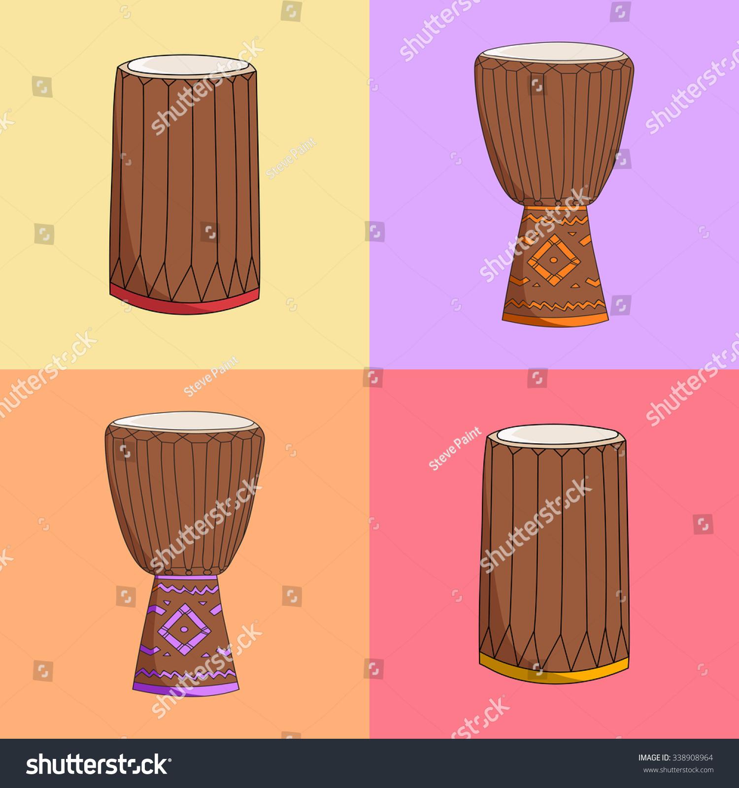Hand Drawn African Music Instrument Symbols Stock Illustration