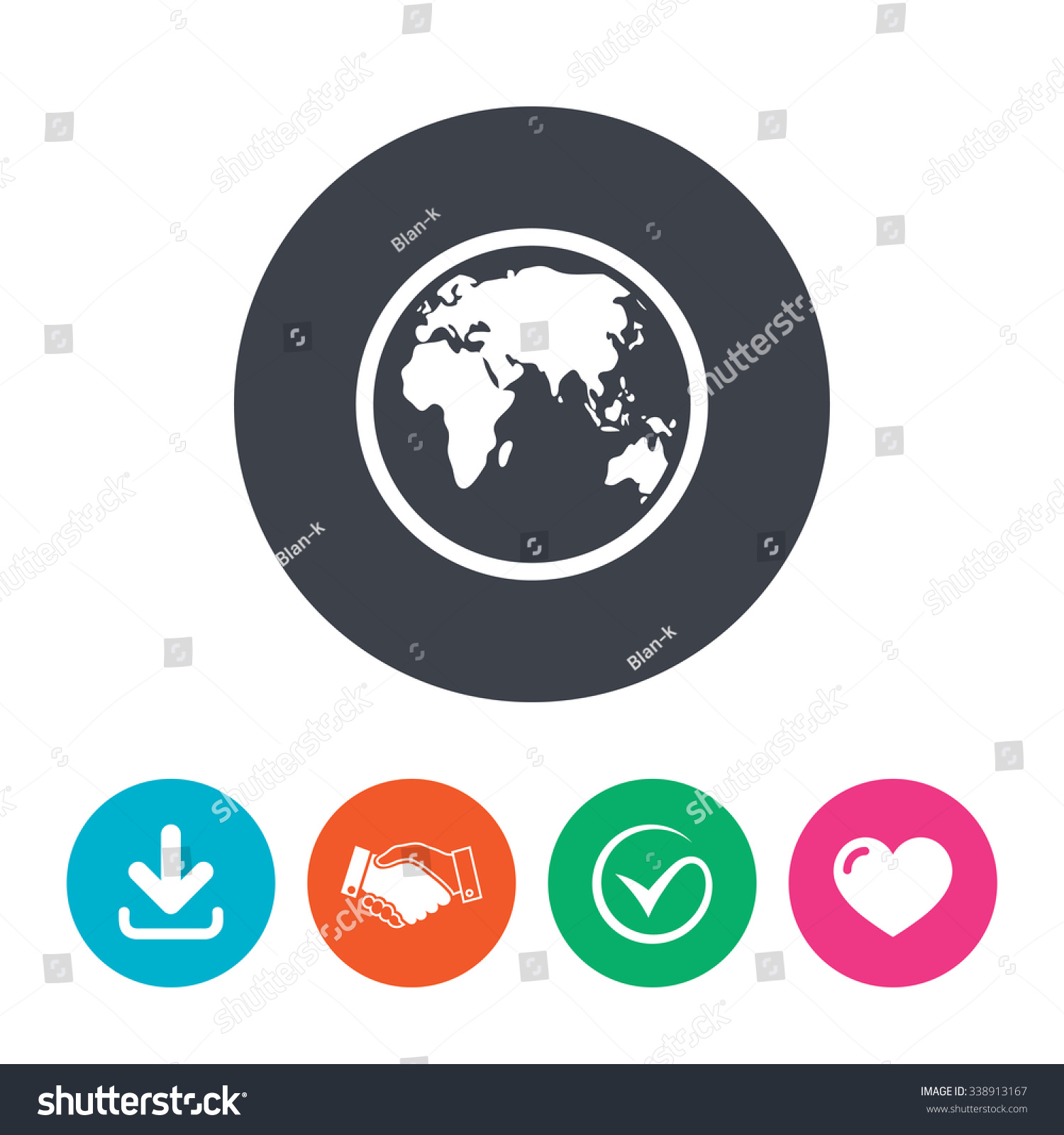 Globe sign icon world map geography stock vector 338913167 world map geography symbol download arrow handshake tick and gumiabroncs Images
