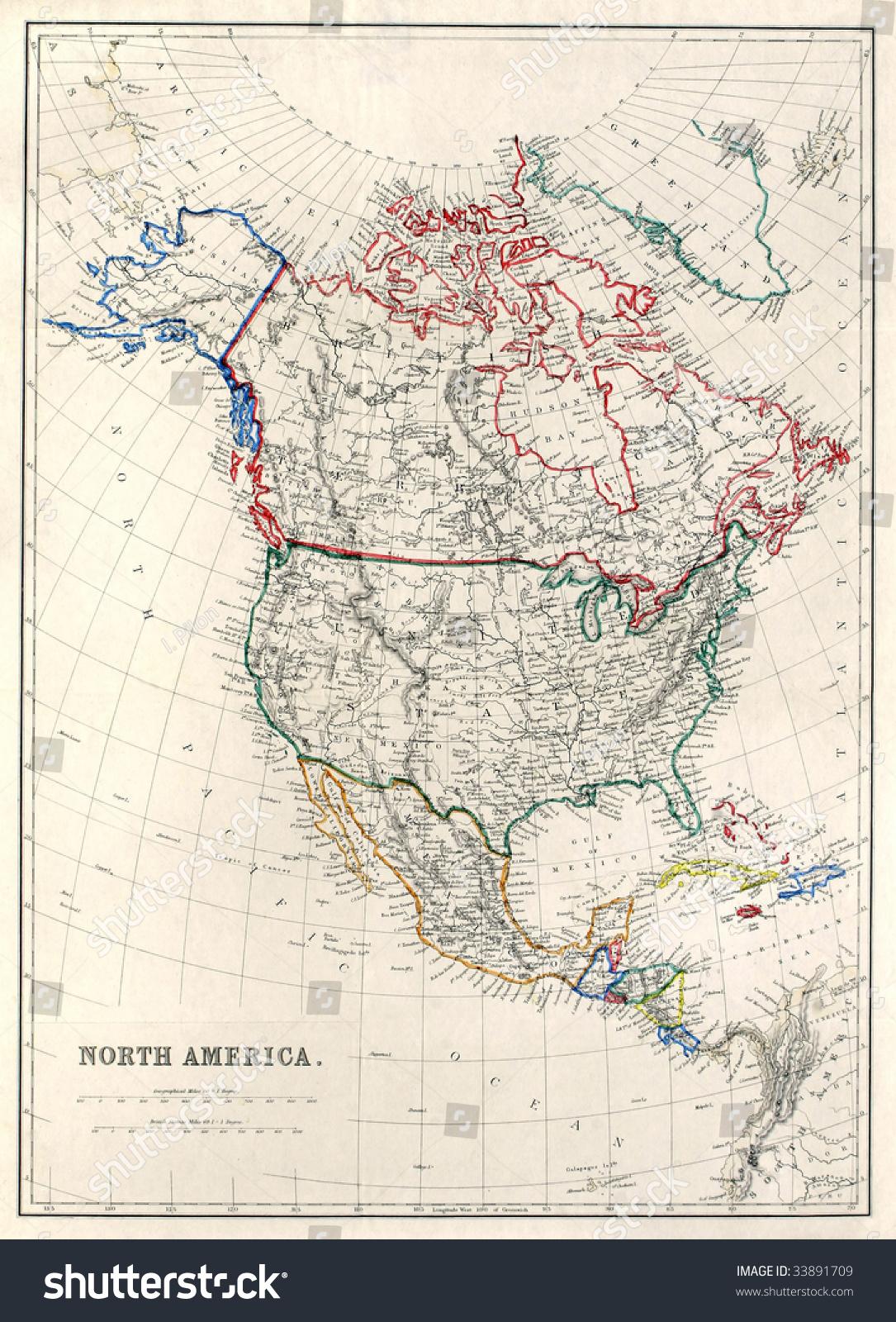 Vintage Map North America Alaska Russian Stock Photo - Alaska america map