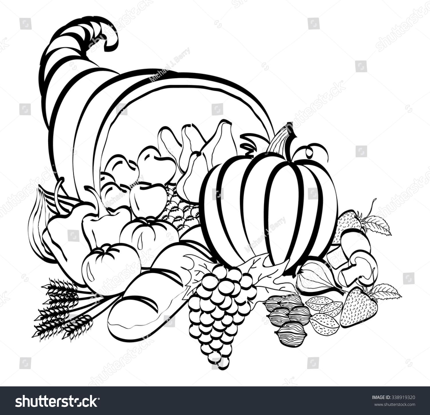 Line Drawing Newspaper : Cornucopia black white line drawing use stock vector