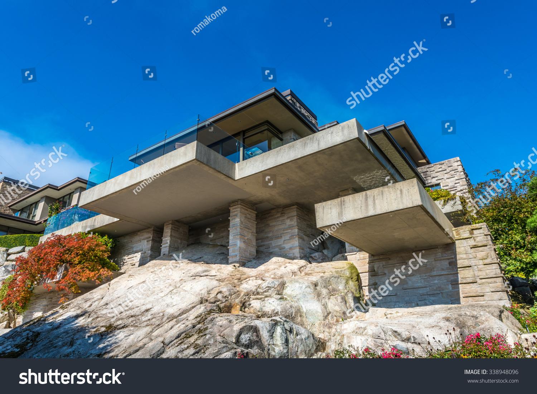 Custom Built Luxury Modern House On Stock Photo 338948096