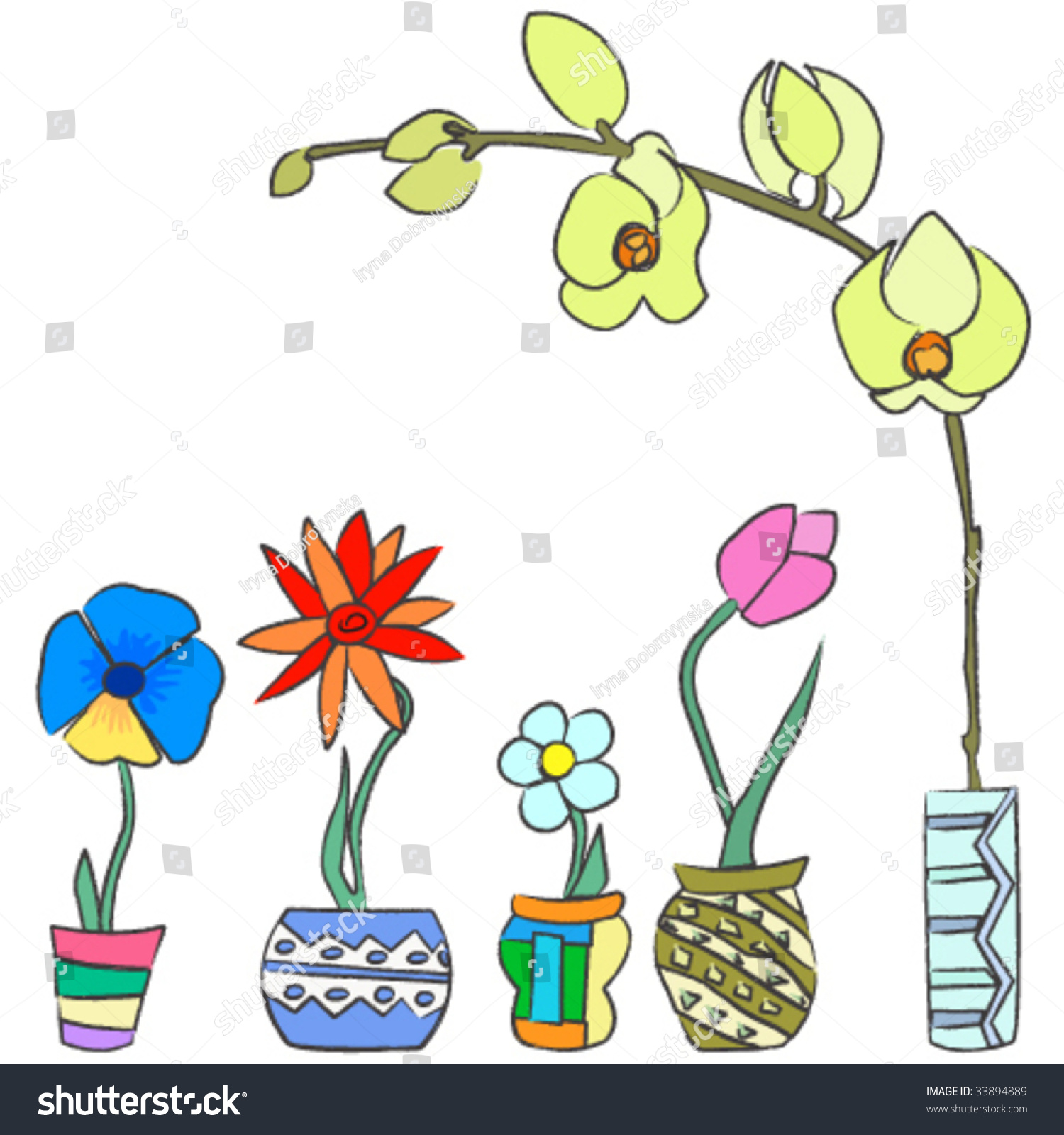 Colorful Hand Draw Spring Flowers Ceramic Stock Vector Royalty Free