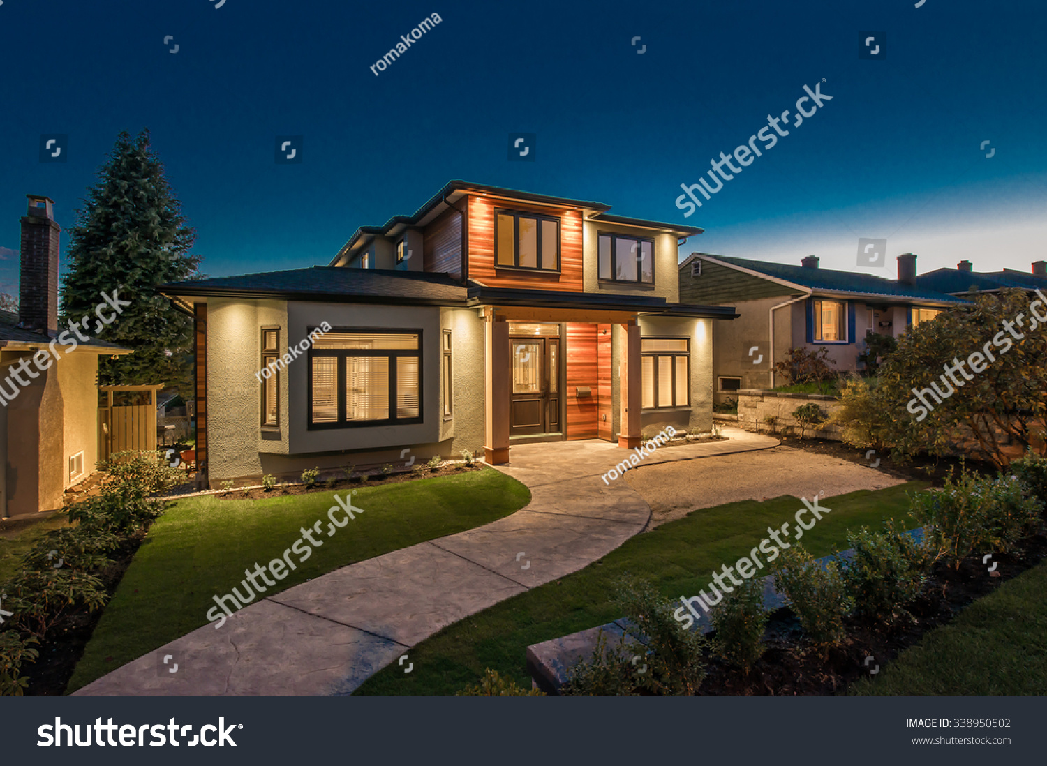 Big luxury modern house dusk night stock photo 338950502 for Big modern houses pictures