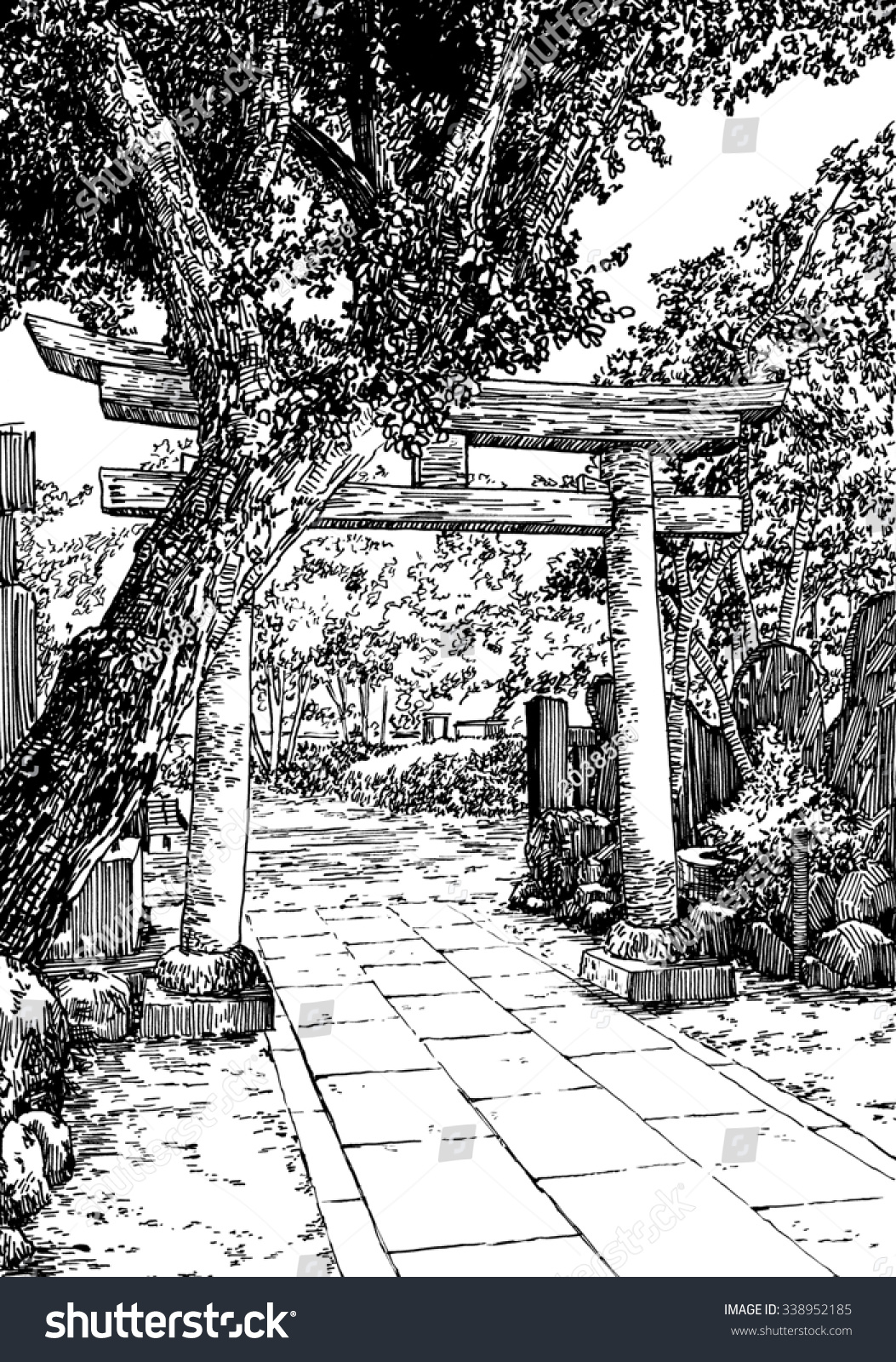Japan Garden Black White Dashed Style Stock Illustration