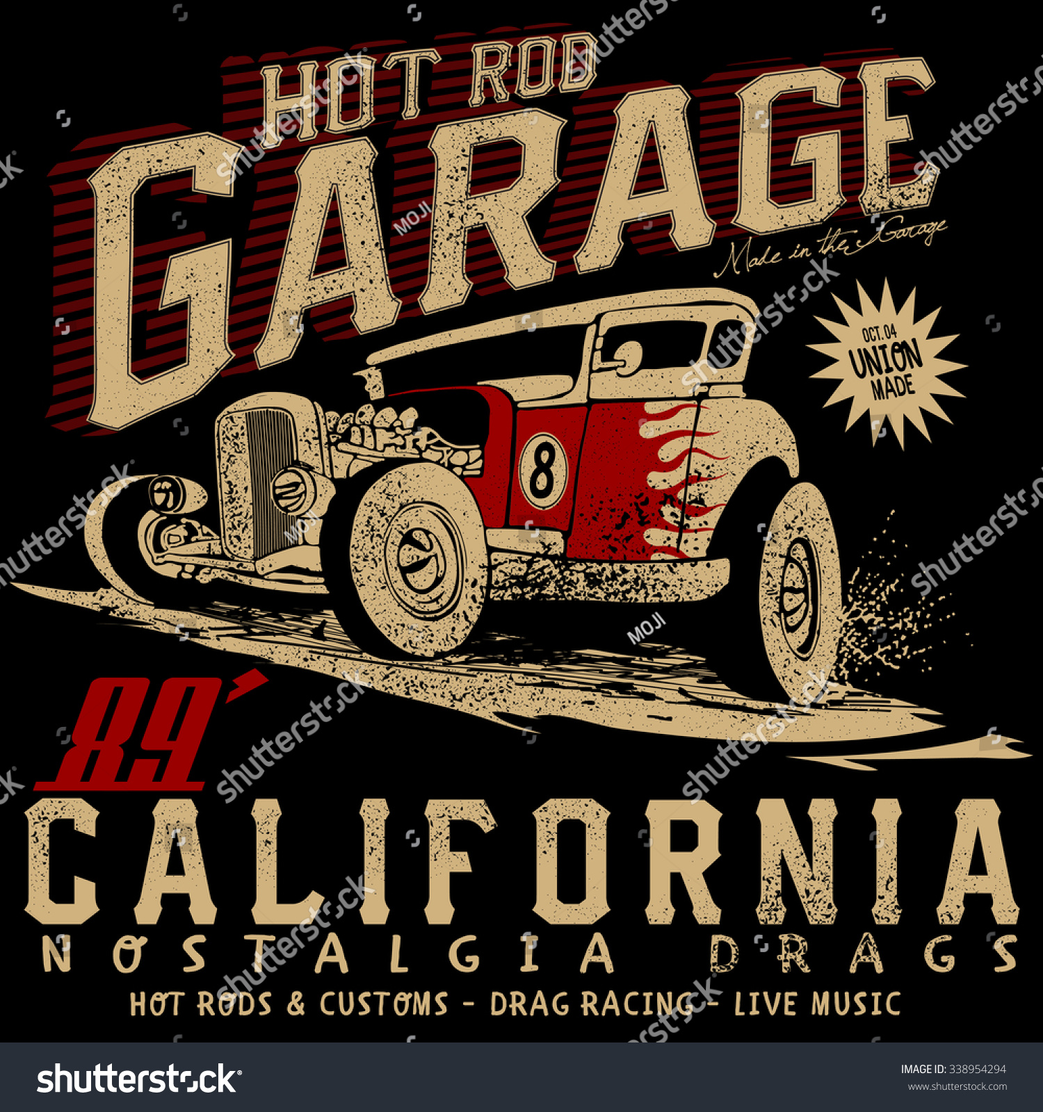 Hot Rod Garage Californiahotrods Carold School Stock Vector ...