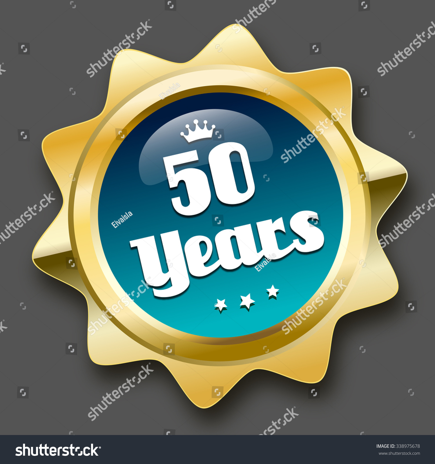 50 years seal icon crown symbol stock vector 338975678 shutterstock 50 years seal or icon with crown symbol glossy golden seal or button with stars buycottarizona Choice Image
