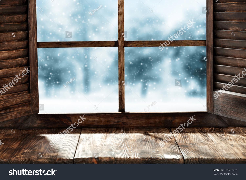 wooden window sill winter sill stock photo 338983685. Black Bedroom Furniture Sets. Home Design Ideas