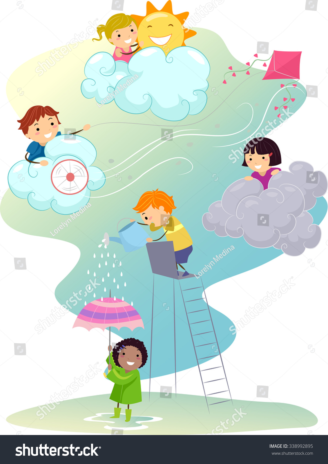 Stickman Illustration Kids Playing Different Weather Stock Vector ...