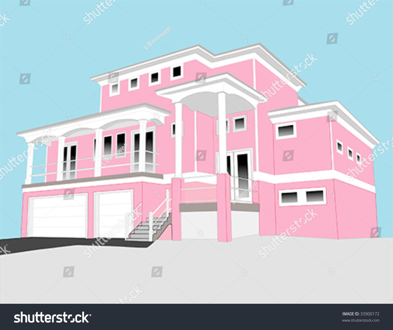Illustration Large Pink House Coastal Style Stock Vector (Royalty ...