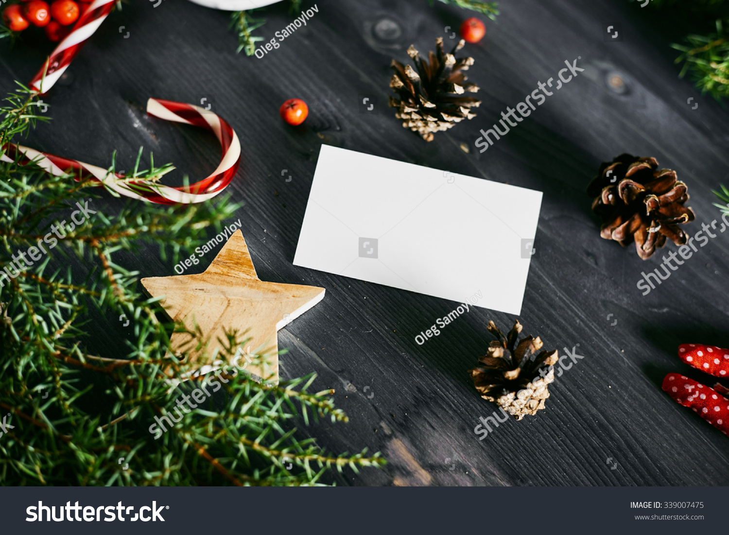 Blank business card on christmas wooden stock photo royalty free blank business card on a christmas wooden background reheart Images