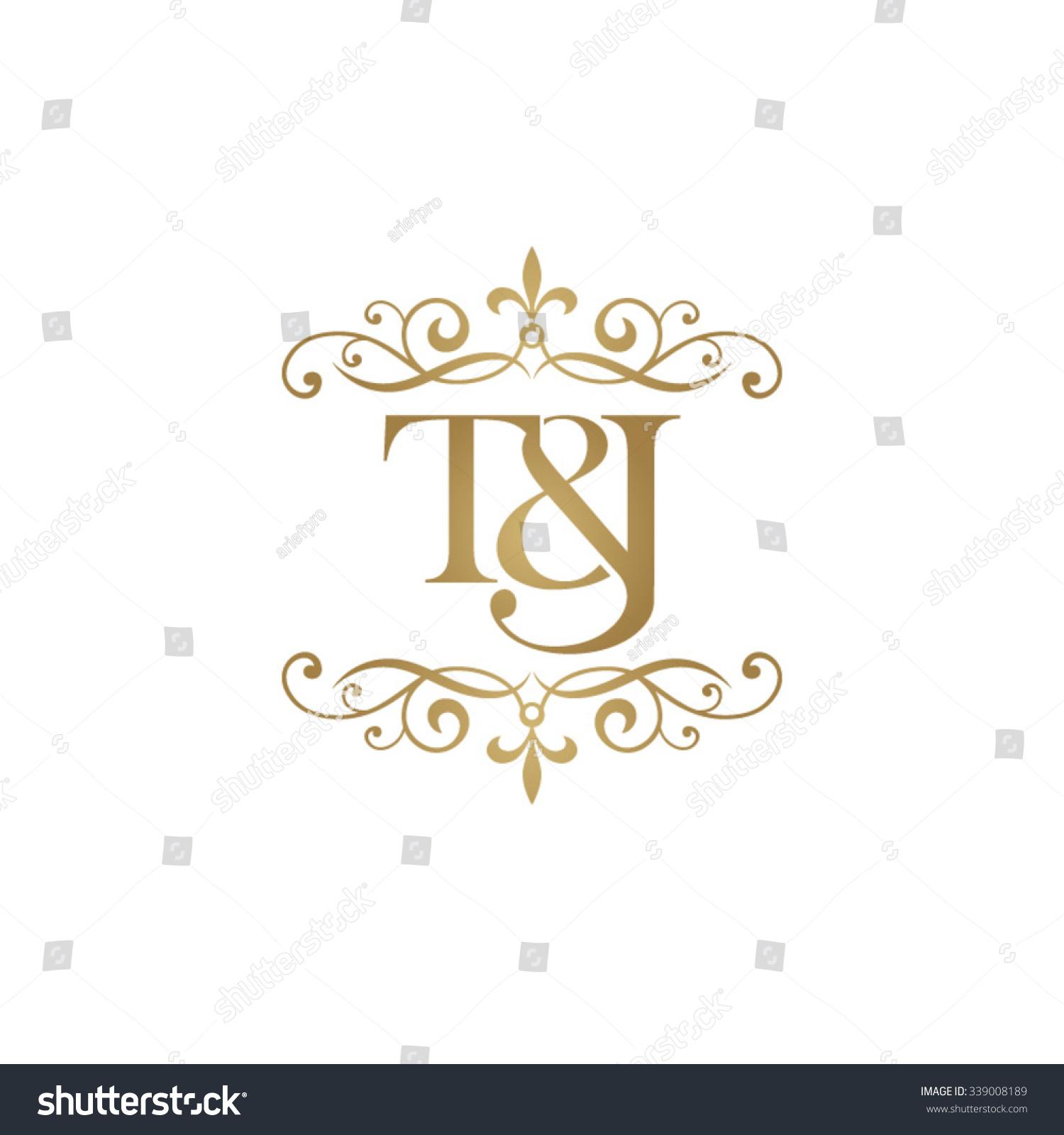 Tj initial luxury ornament monogram logo stock vector - T J Initial Logo Ornament Ampersand Monogram Golden Logo