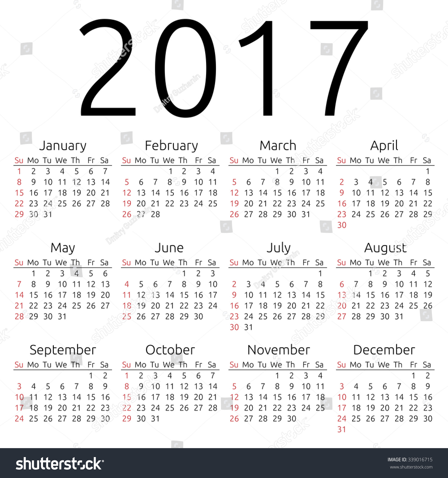 Year Calendar Starting : Simple year calendar week starts stock vector