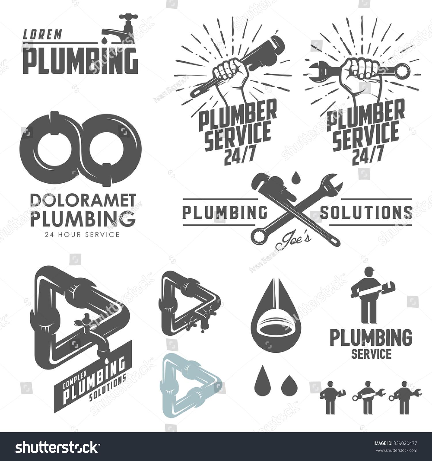 Vintage Plumbing Emblems Labels Design Elements Stock Illustration ...