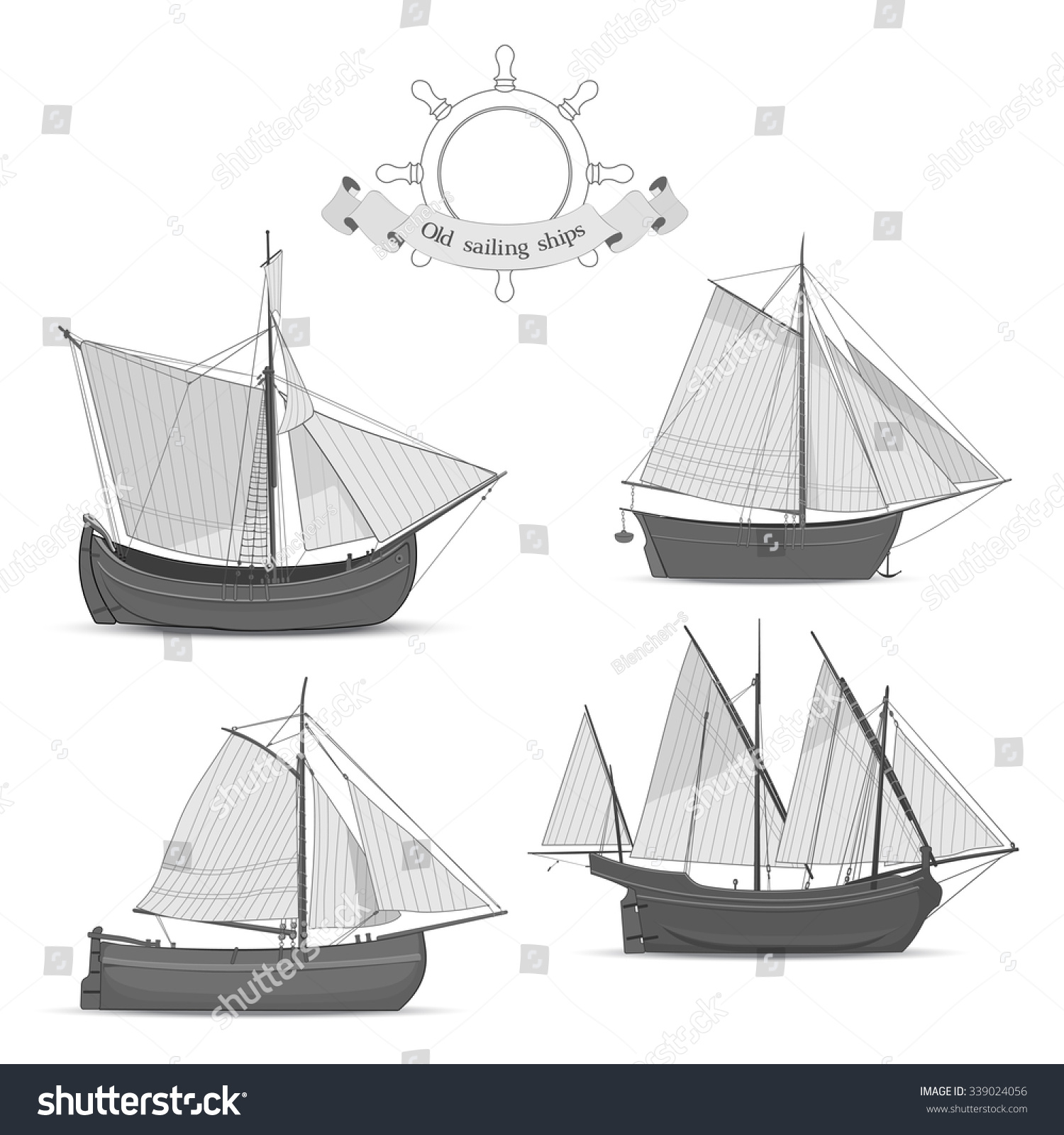 Black and white sketches of sailing ships Set of vector
