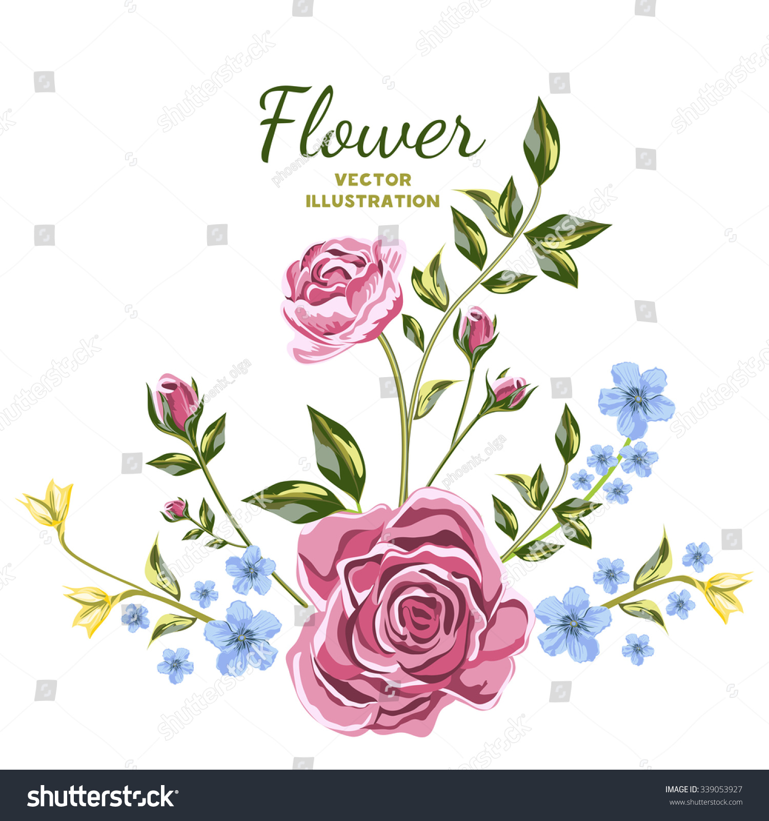 Vector flower bouquets blue yellow wildflowers stock vector royalty vector of flower bouquets blue and yellow wildflowers and pink roses flowers set individual izmirmasajfo