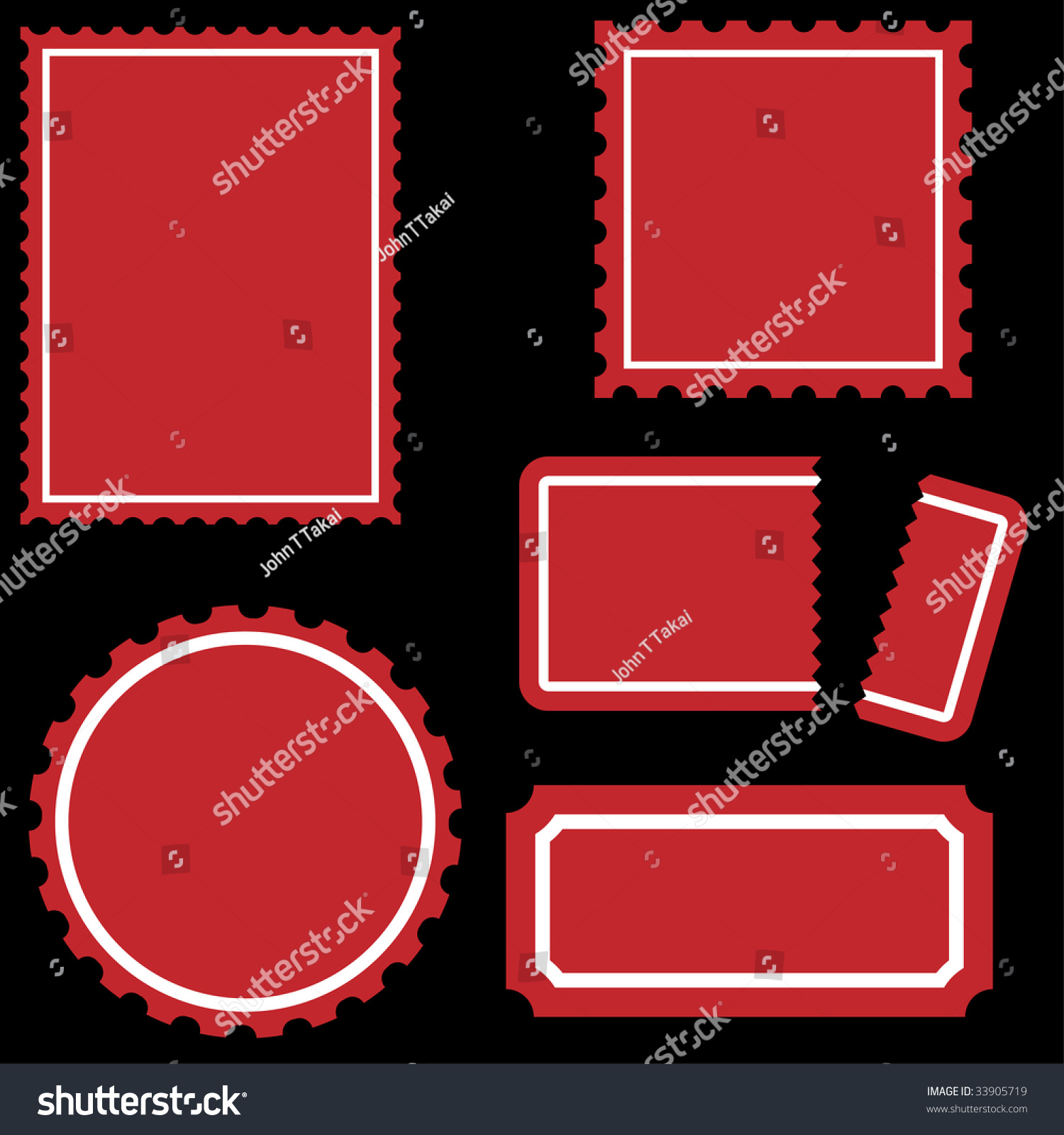 perforated ticket icon set red