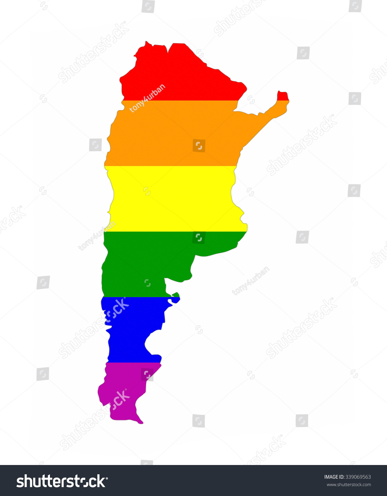 Argentina Country Gay Pride Flag Map Stock Illustration - Argentina map shape