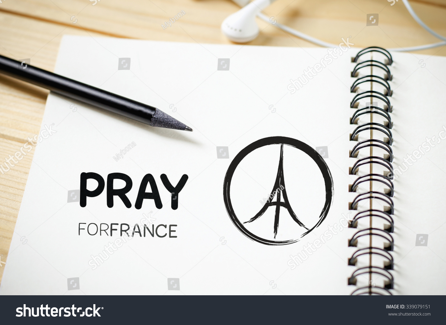 Pray France Peace Symbol Drawing On Stock Photo Edit Now 339079151