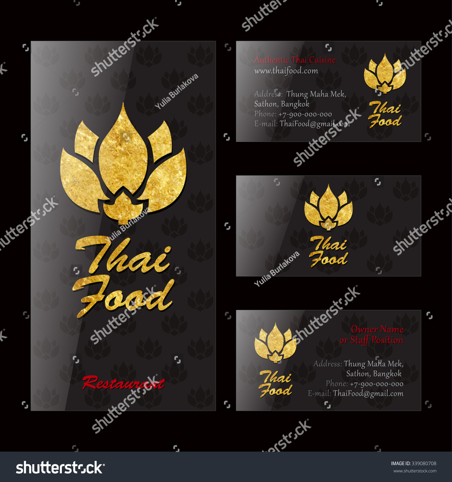 thai food restaurant black gold identity stock vector