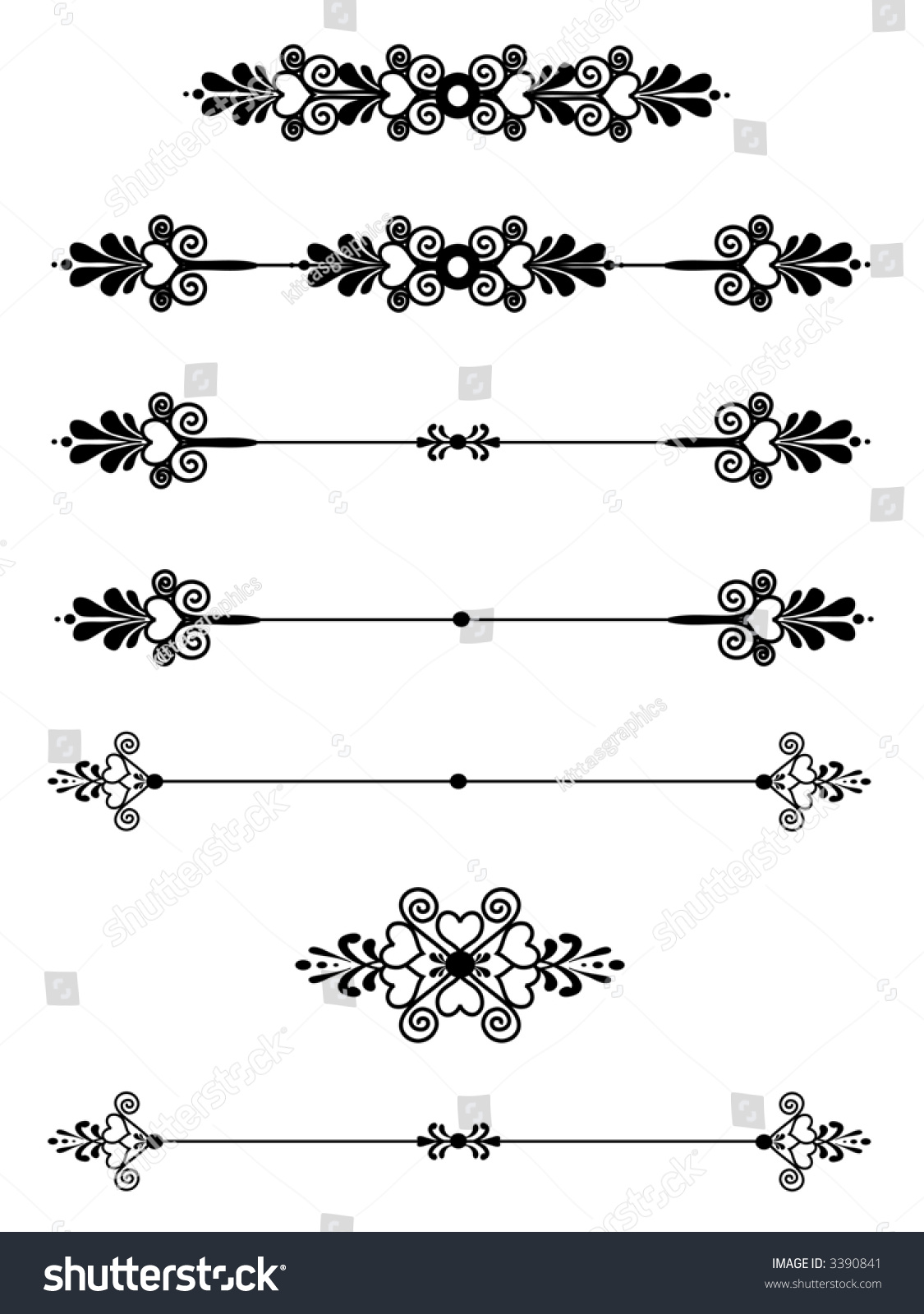 Basic Design Line : Hearts ornamental bar line divider rule stock photo