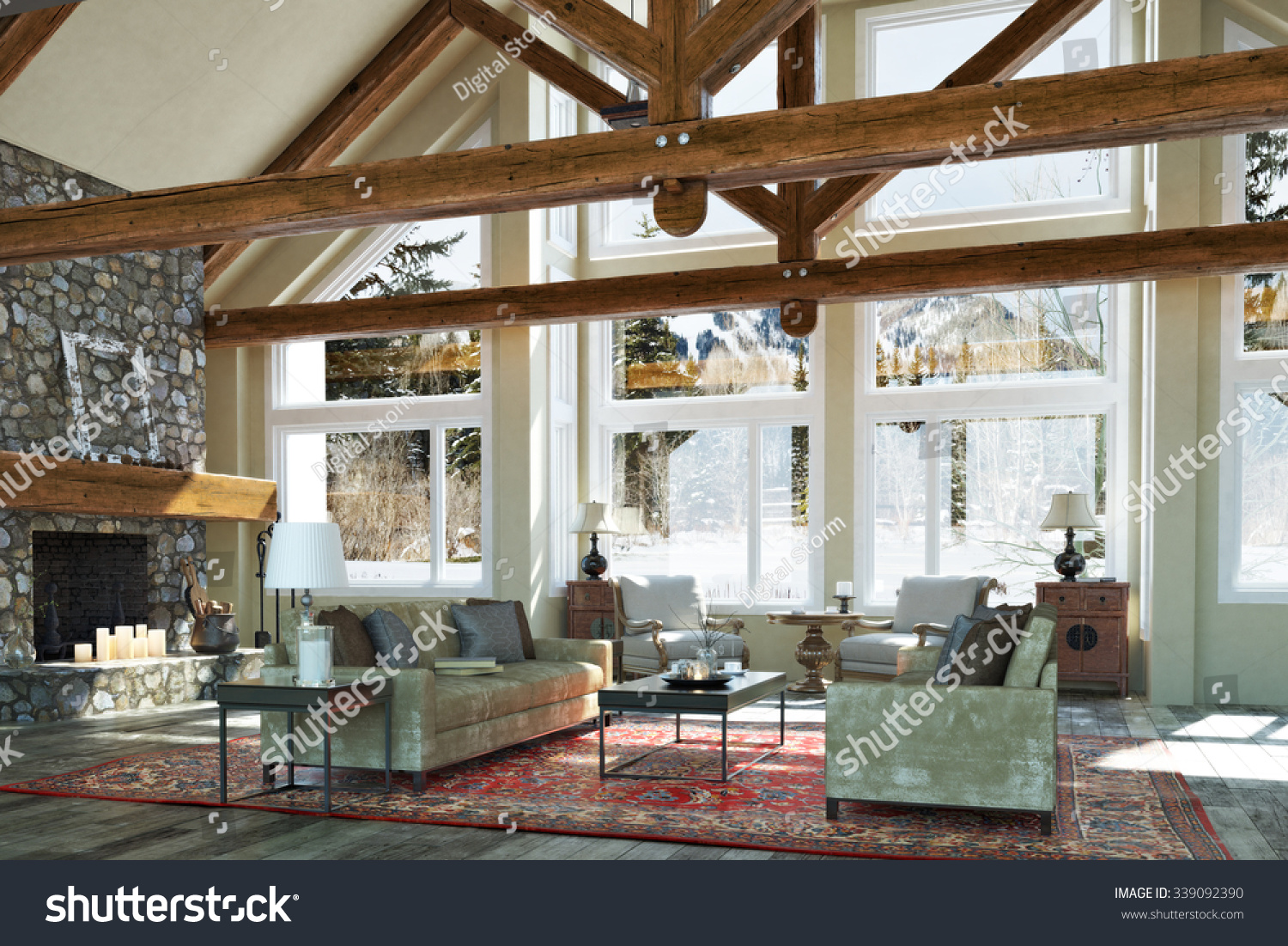 Open Floor Cabin Interior Family Room Design With Candle Lit Stone