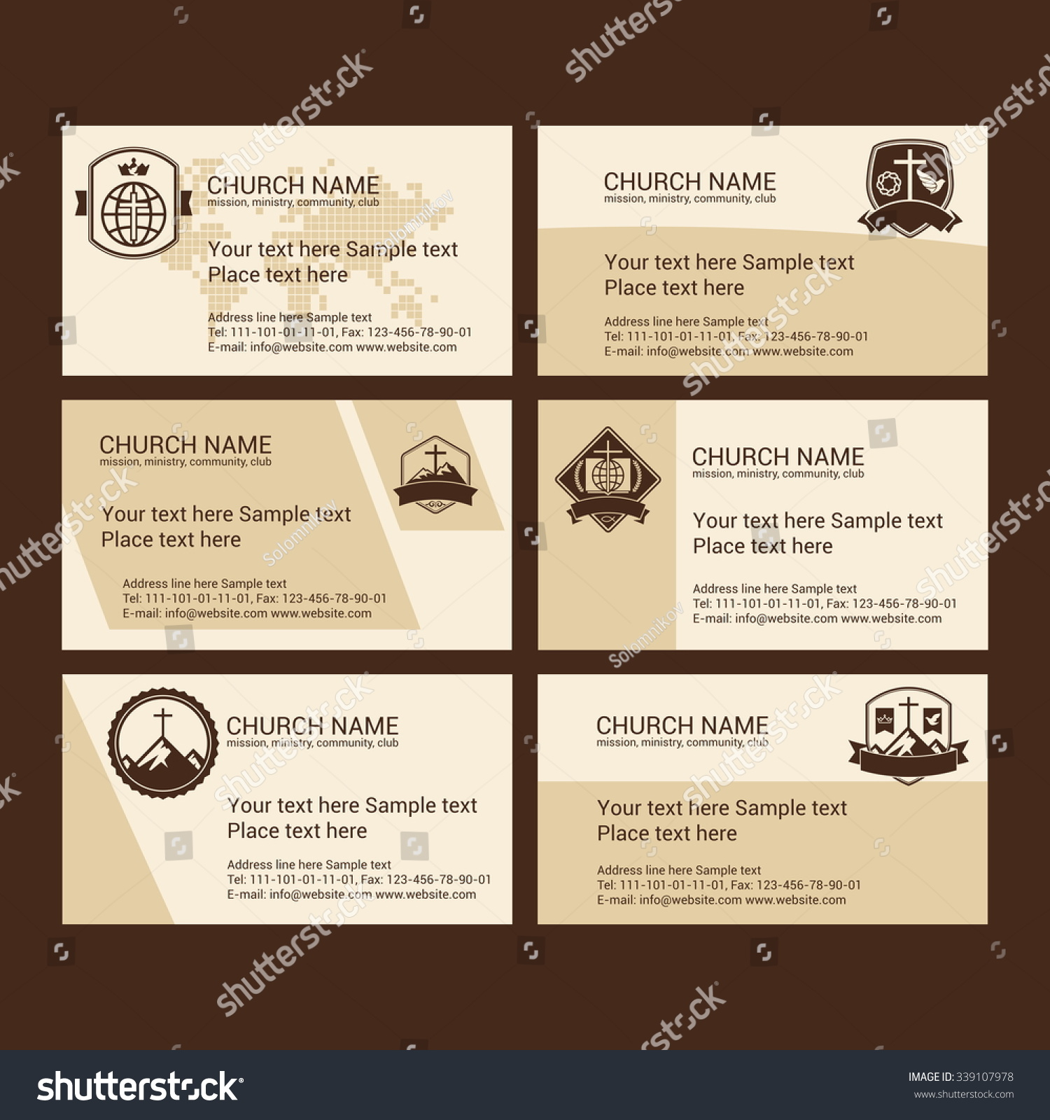 Set Christian Business Cards Church Ministry Stock Photo (Photo ...