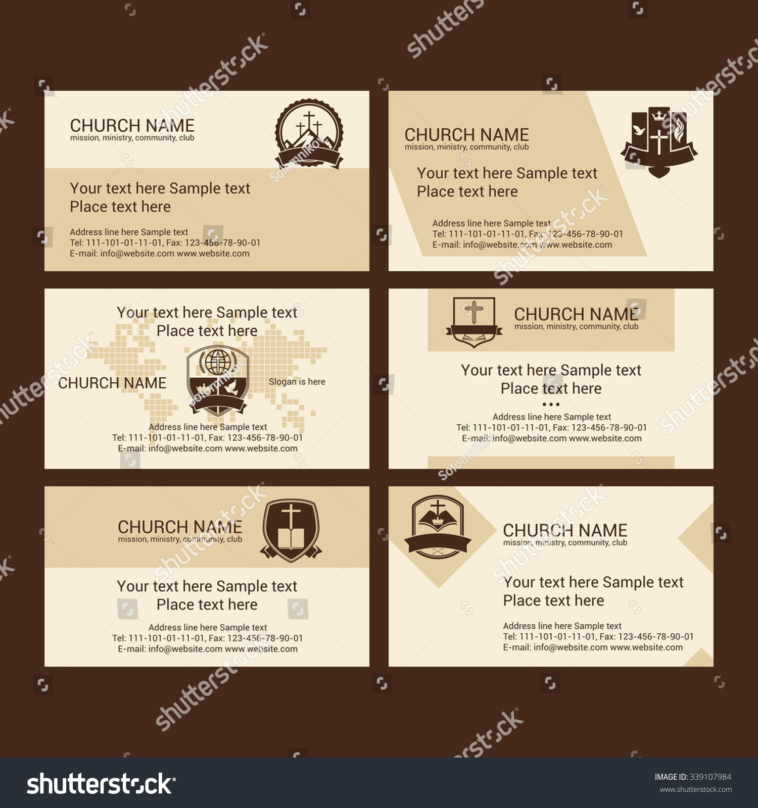 Set Christian Business Cards Church Ministry Stock Vector 339107984 ...