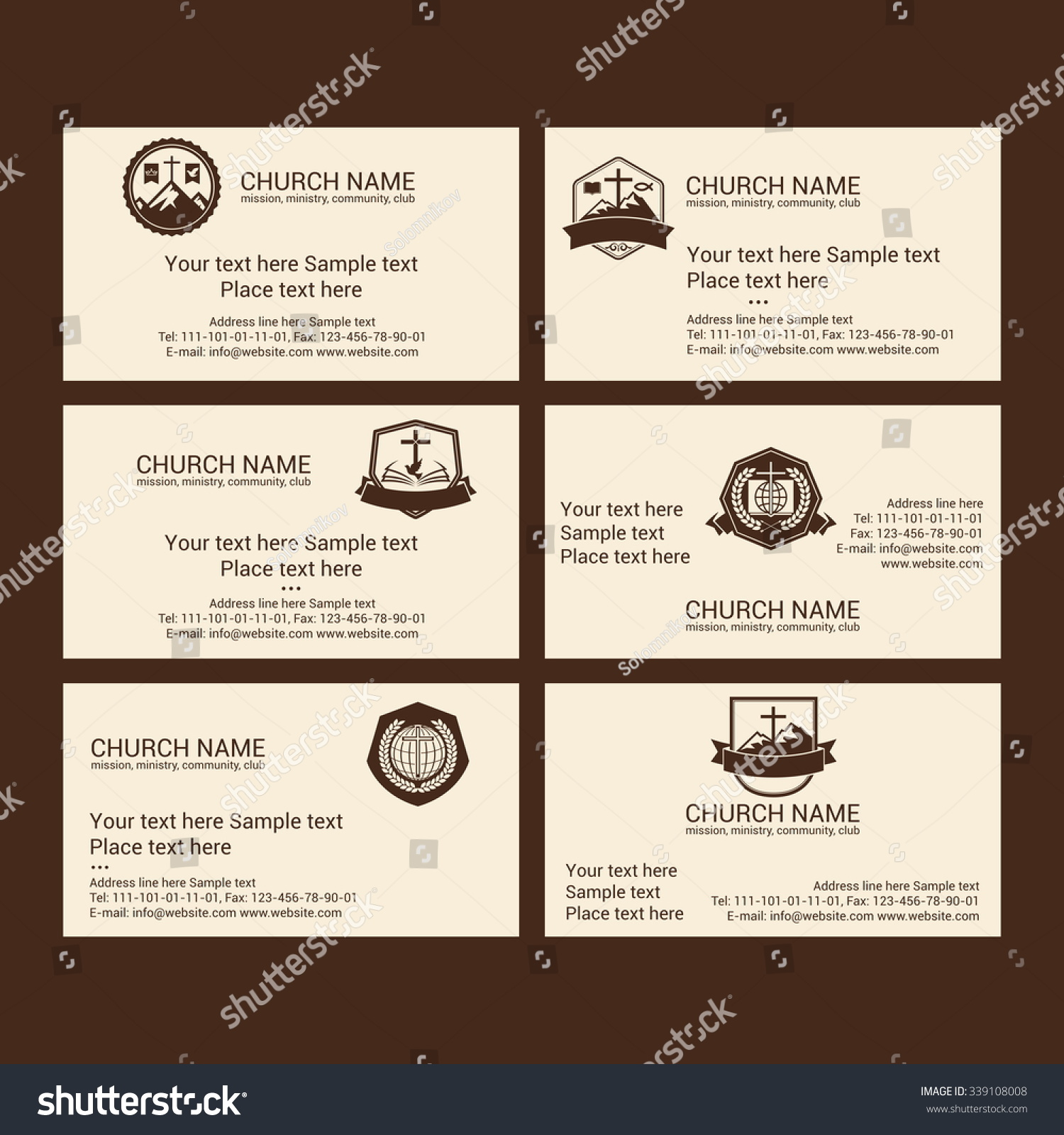 Set Christian Business Cards Church Ministry Stock Vector 339108008 ...