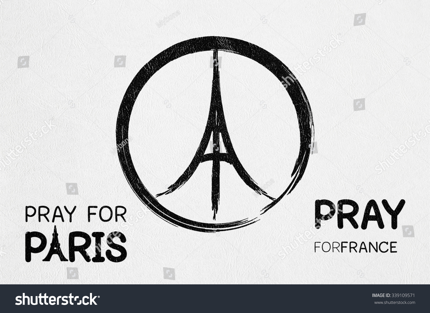 Royalty Free Pray For Paris France And Peace Symbol 339109571