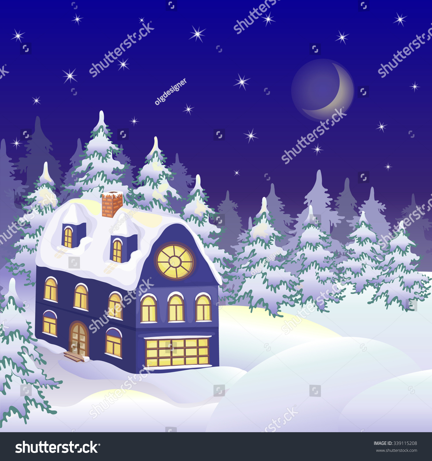 Winter Landscape With Snowy House Christmas Greeting Card Colorful
