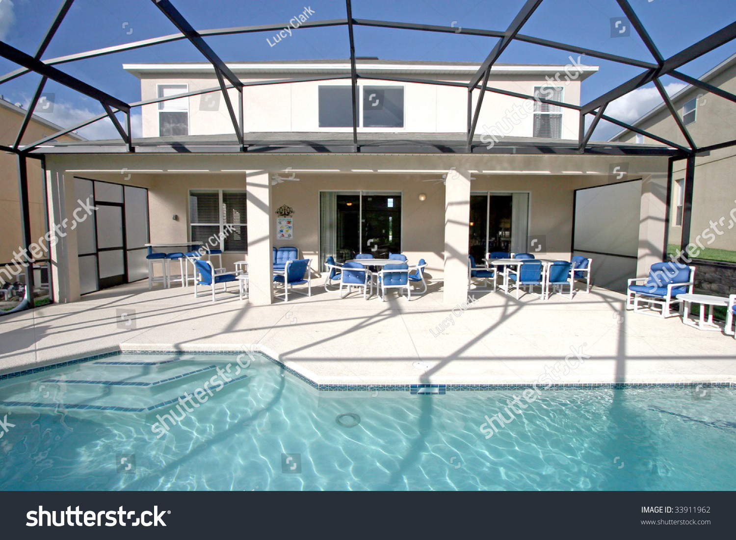 Swimming Pool Lanai Florida Stock Photo 33911962