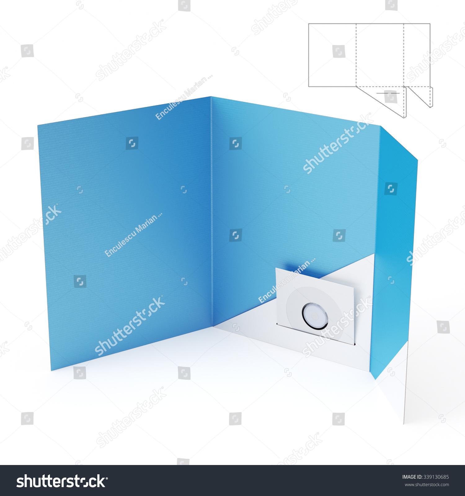 brochure folder with cd dvd pocket and die cut template stock photo 339130685 shutterstock. Black Bedroom Furniture Sets. Home Design Ideas