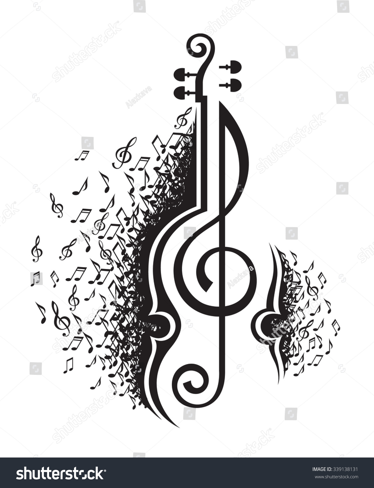 monochrome illustration musical notes violin stock vector