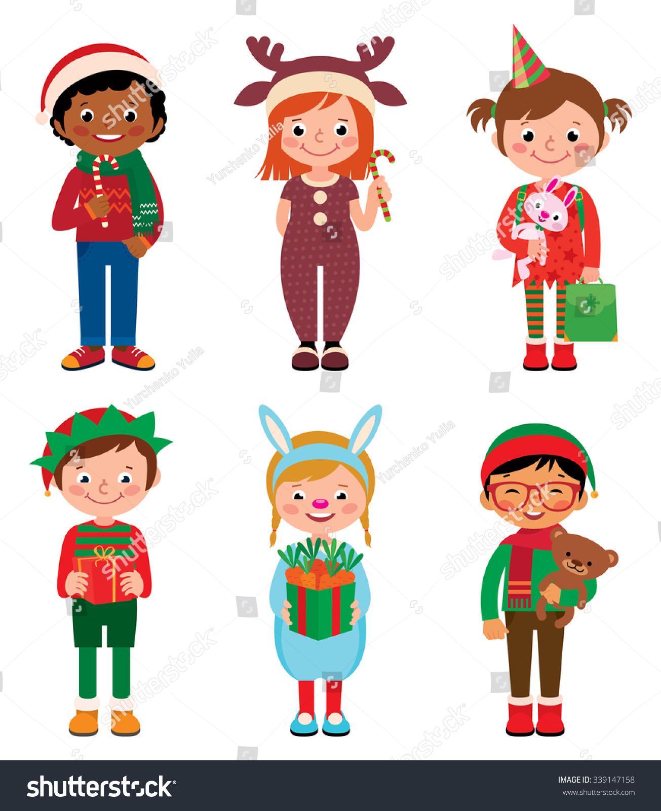 Vector Cartoon Illustration Kids Costume Christmas Stock Vector ...
