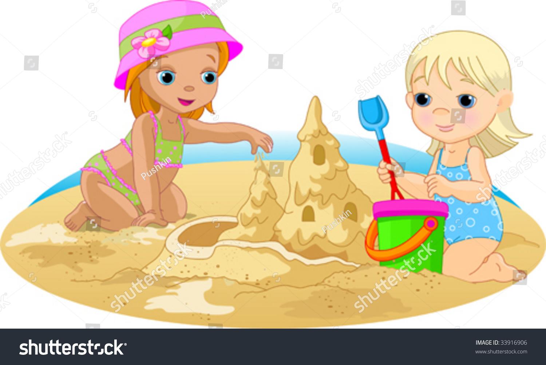 Рисованные картинки детей играющих в песок и воду