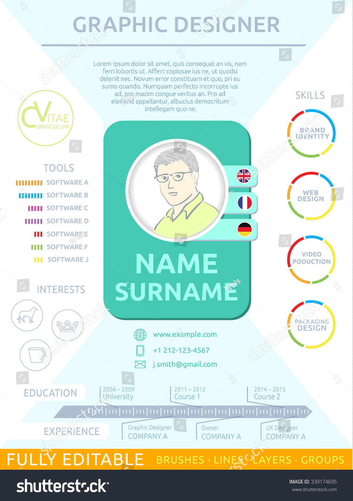 short cv resume template stock vector 339174695 shutterstock short cv resume template