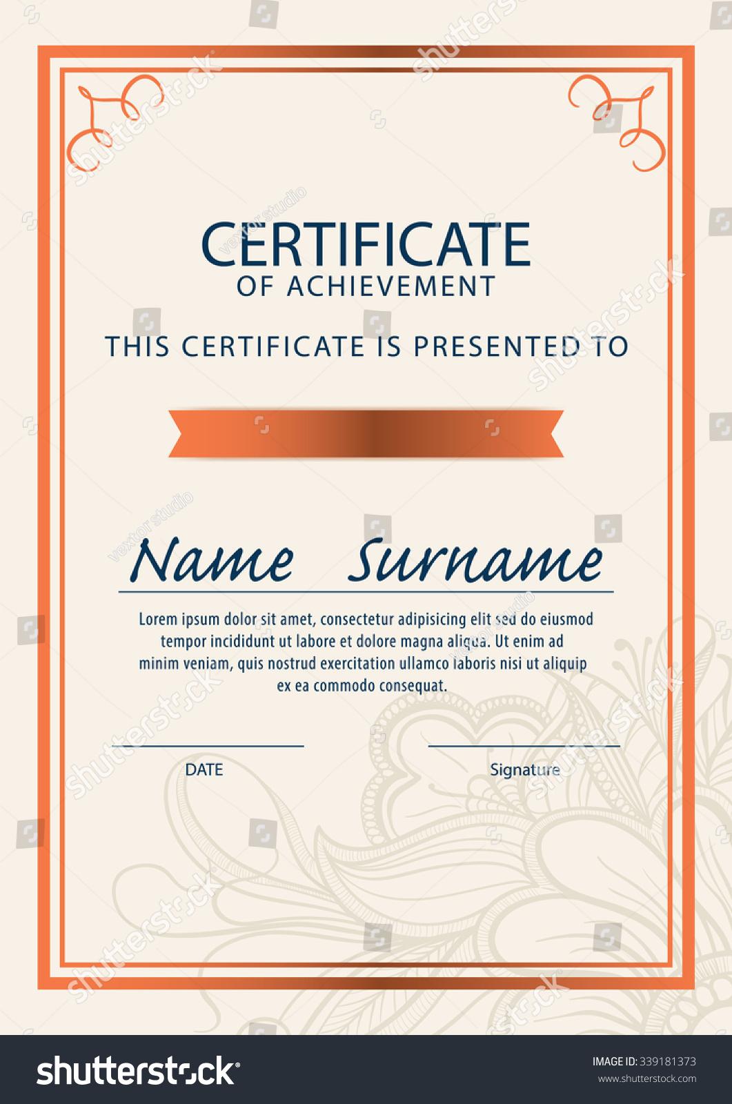 Certificate Templatediploma A 4 Size Vector Stock Vector Royalty