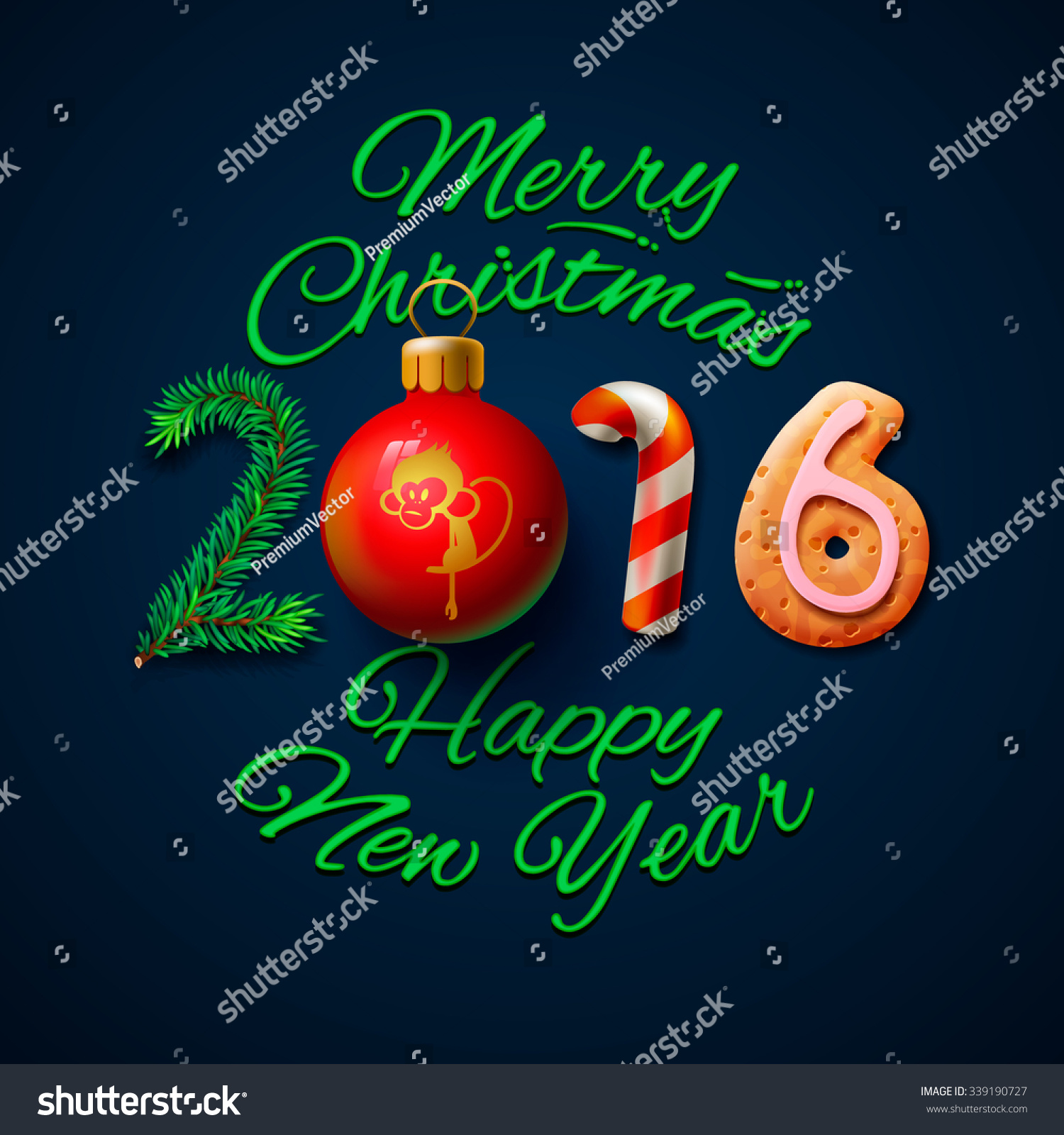 Merry Christmas Happy New Year 2016 Stock Vector 339190727