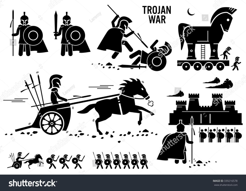 Trojan War Horse Greek Rome Warrior Stock Vector 339216578