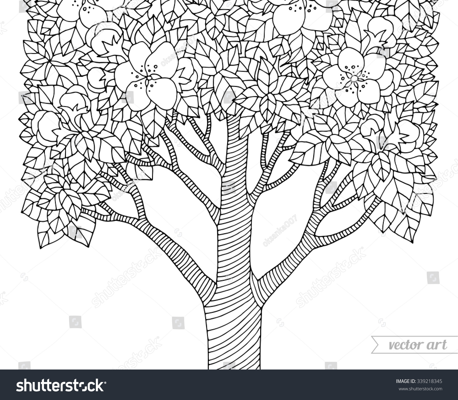 Coloring book page apple tree - Forest Apple Tree Flowers Vector Artwork Love Bohemia Concept For Invitation Card