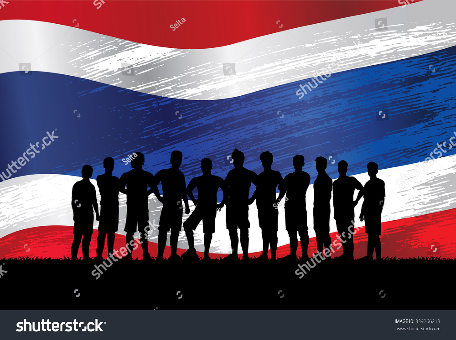 soccer team silhouette standing in a line in front of thailand flag